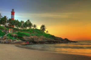 kovalam beach and lighthouse
