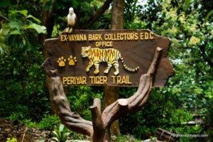 sign says periyar tiger trail