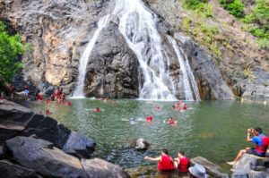 people swimming in a water fall