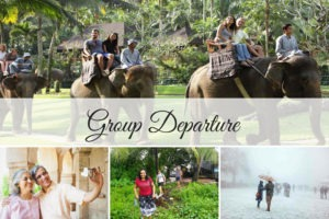 people touring as a group, collage