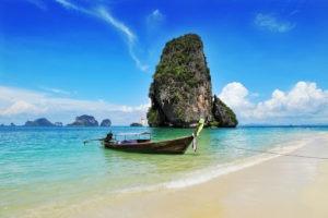 boat, big rock mountain on sea