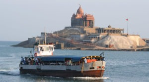 people in boat, vivekananda rock
