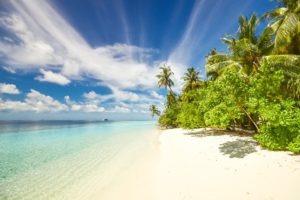 beach, blue water, blue skies,