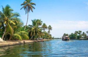 fishing boat on the river near kollam on kerala backwaters