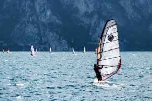 people windsurfing in water
