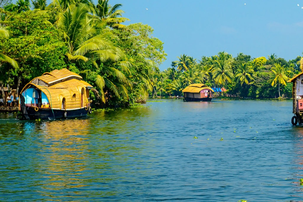 house boats in a river of kerala