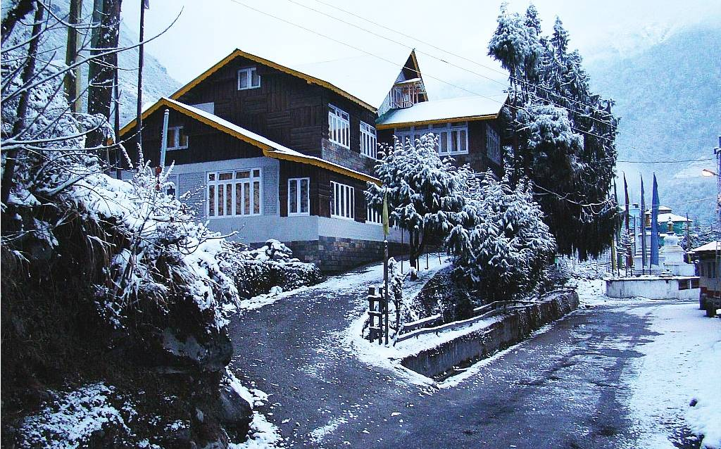 a house, street and trees covered in snow