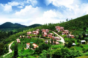 little houses on the hill of ooty, clear blue skies