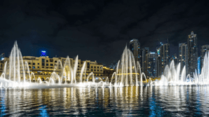 skyscraper buildings, water fountains, dubai