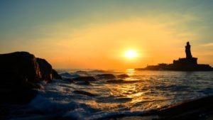 sunrise in a sea shore of kanyakumari