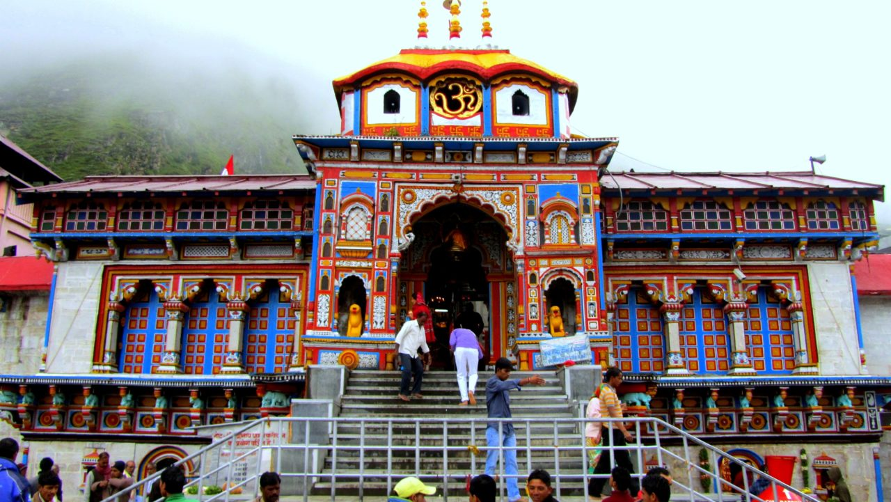 front view of badrinath temple