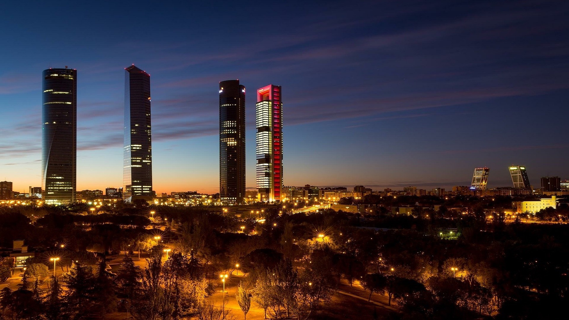 four skyline buildings in spain
