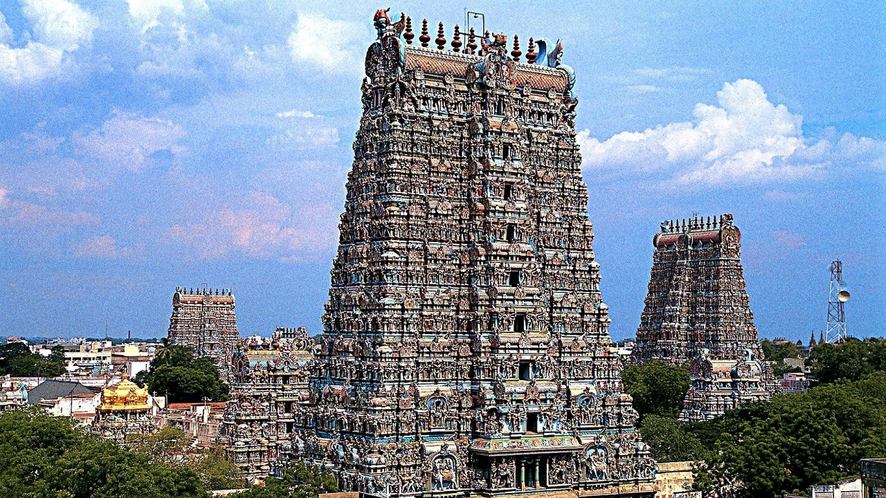 meenakshi temple in south of india, surrounded by many more temples