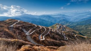 sky view of himalaya hill and its zigzag road