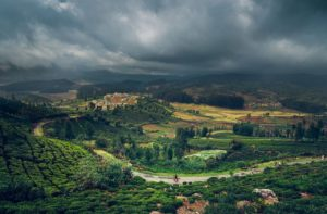 hillside view, cloudy weathers, irrigation field, small town