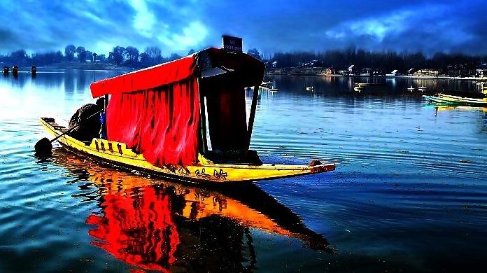 boat, river, cloudy skies