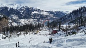 ice covered mountain in manali solang valley