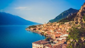 mountain, city by sea side, italy