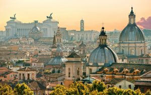 sideways view of rome with monuments