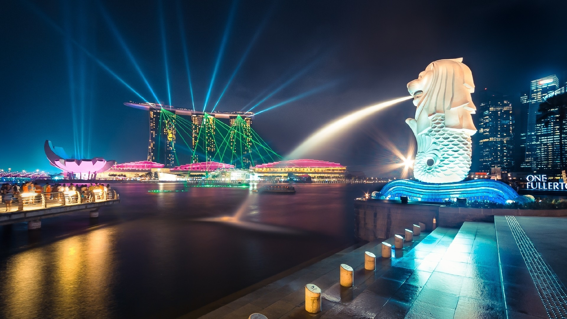 lion fountain, night, buildings, singapore