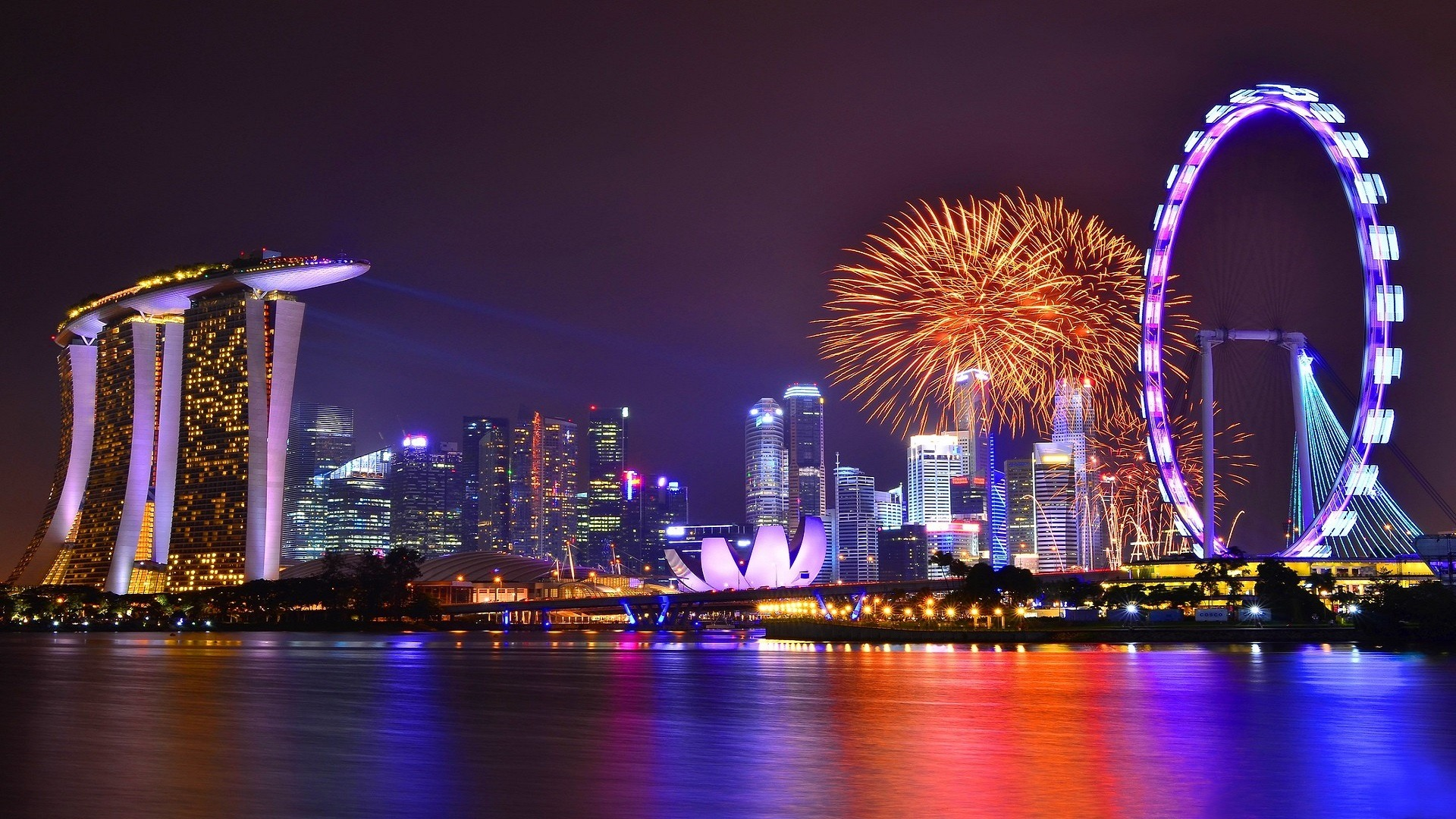 night singapore, fireworks