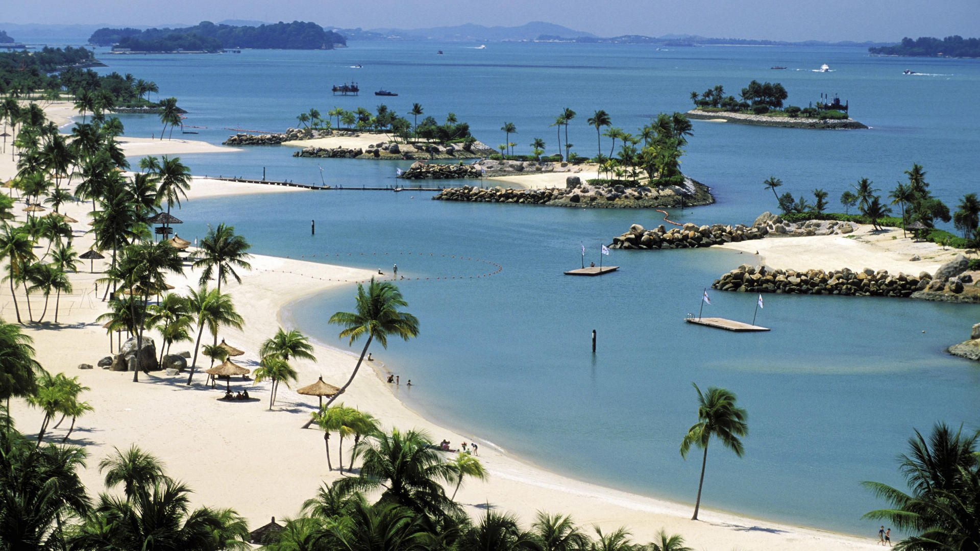 Singapore, the artificial beach of the Sentosa island