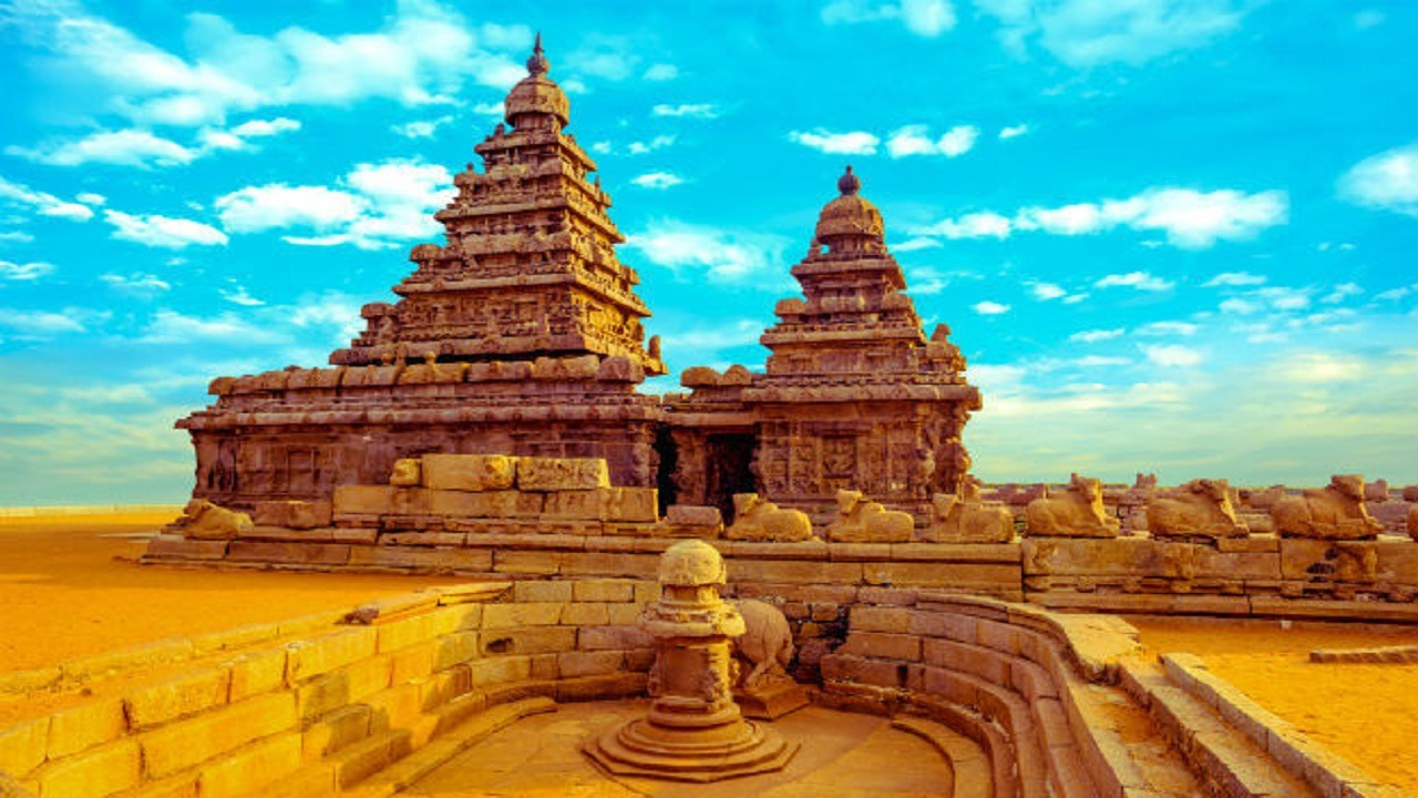 shore temple with clear blue skies
