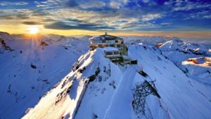 ice covered mountain, mountain cable car tower
