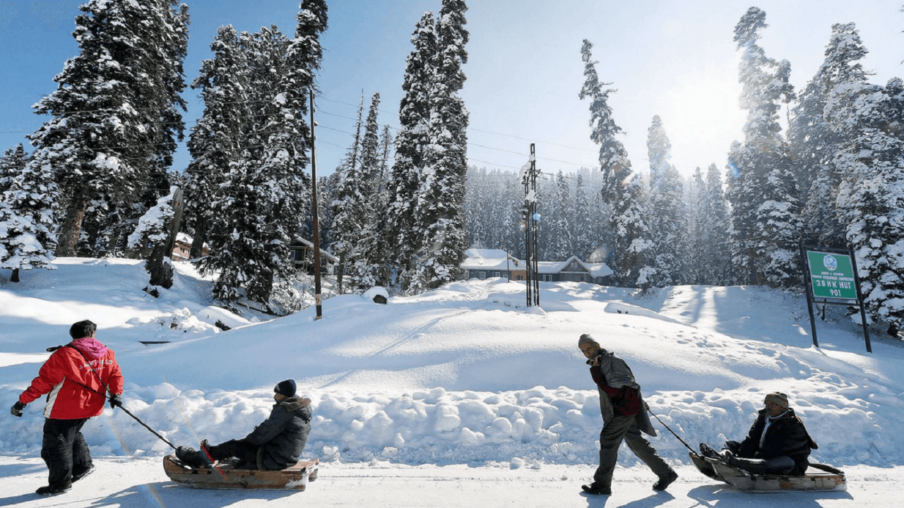 picture of four guys walking and sleighing in snow