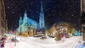 night and snow in vienna