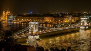 night view, bridge, buildings and waterbody