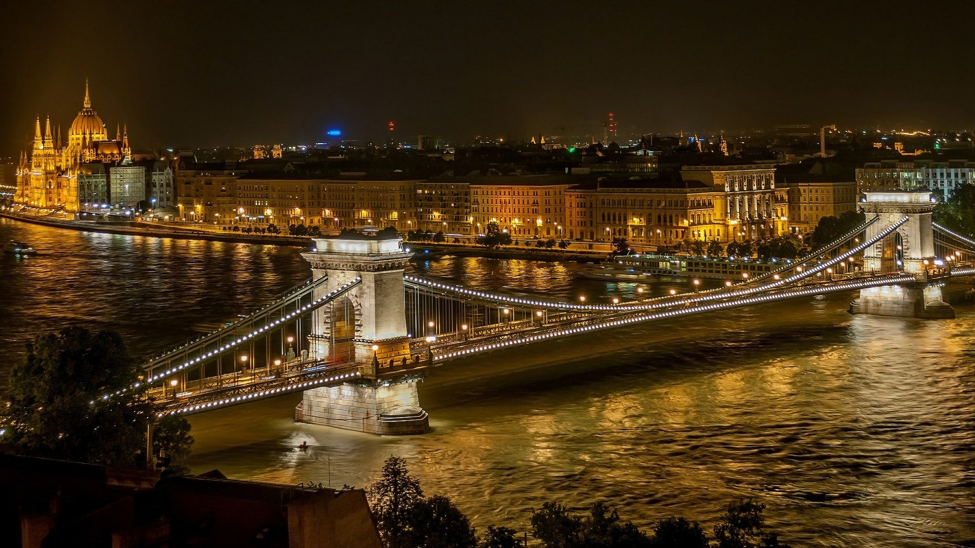 night view, bridge, buildings and waterbody